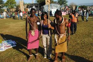 In Swaziland at the Bush Fire Festival with these warriors. Photo: Muzi