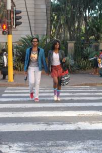 Crossing the Durban streets with my friend Mosa. Photo by Sandy