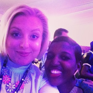 Met Rachael Dean from AfroBougee an online publication based in Ghana at #MBFWAfrica