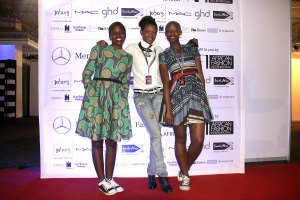 At Meredes-Benz Fashion Week Africa with Thabile Mfokazi (R) and friend Photo by Hlonny