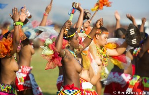 Ludzidzini, Swaziland, Africa - Umhlanga, reed dance ceremony Maidens dance before King Mswati III on day 7 of the ceremony